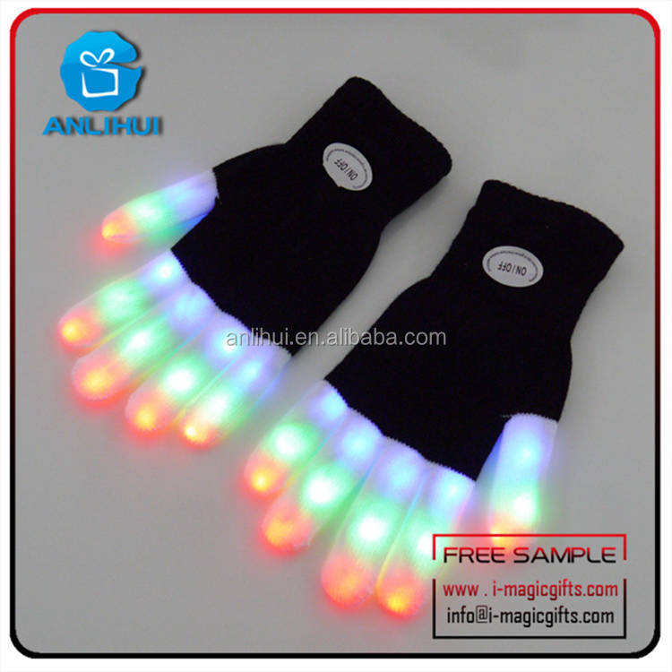 Rave Finger Light OEM LED Flashing Fashion Kids Finger Gloves Factory