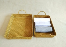 China Supplier Rectangular Eco-friendly wholesale handmade woven seagrass food tray with handles