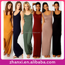 Women sundress long sleeveless casual girls plain cotton maxi dress designs