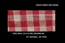 100% jute check fabric red and cream