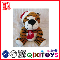 Stuffed Tiger Animal Wearing Top Hat And Scarf/Christmas Stuffed Personalised Tiger Toy
