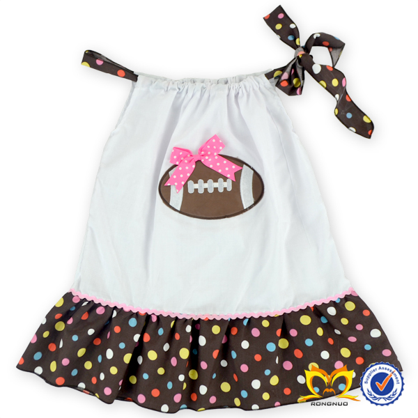 Wonderful Modern Girls Pillowcase Dress Print Cute American Football Western Party Wear Dresses