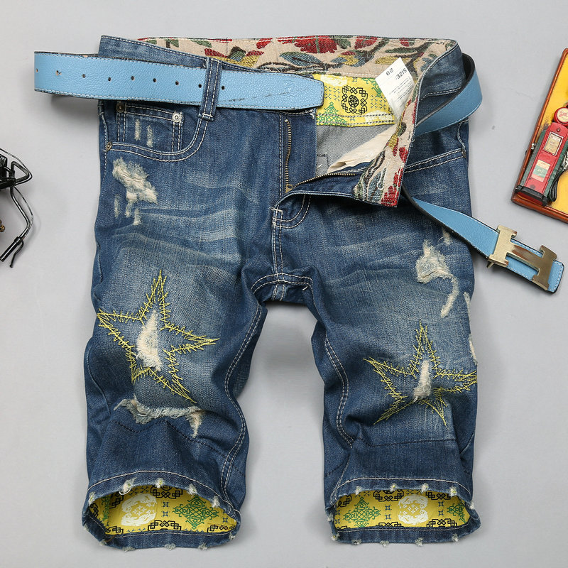 Cotton Short Jeans With Star Pattern <strong>Fashion</strong> Popular Classic Jeans Short Pants for Men TS13142