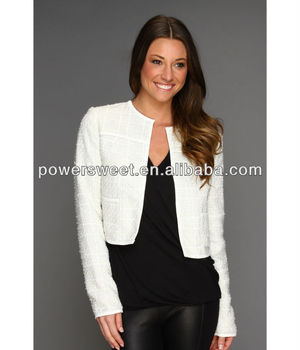 White long sleeve short length cardigan white women blazer, View ...