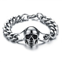 Marlary High Quality Jewelry Punk New Steel Chain Design Cheap Mens Bracelet Skull