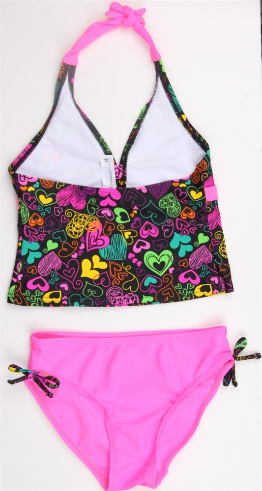 2017 print pattern two piece kid swimwear for summer swimming