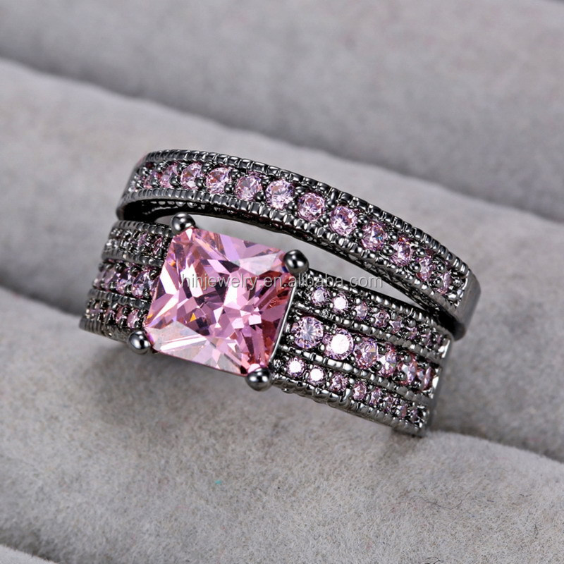 Hong kong jewelry wholesale pink CZ rings jewelry womens brass rings jewelry