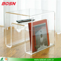 Popular lucite acrylic coffee side table modern design with magazine
