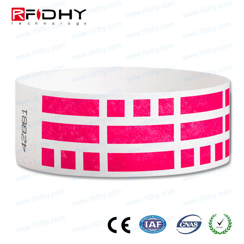 13.56MHz vinyl paper direct thermal printable 215 NFC disposable bracelet for conference