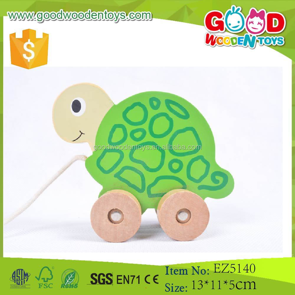 Yunhe Good Wooden Toys Top Quality Pulling Car Wooden Animal Toy