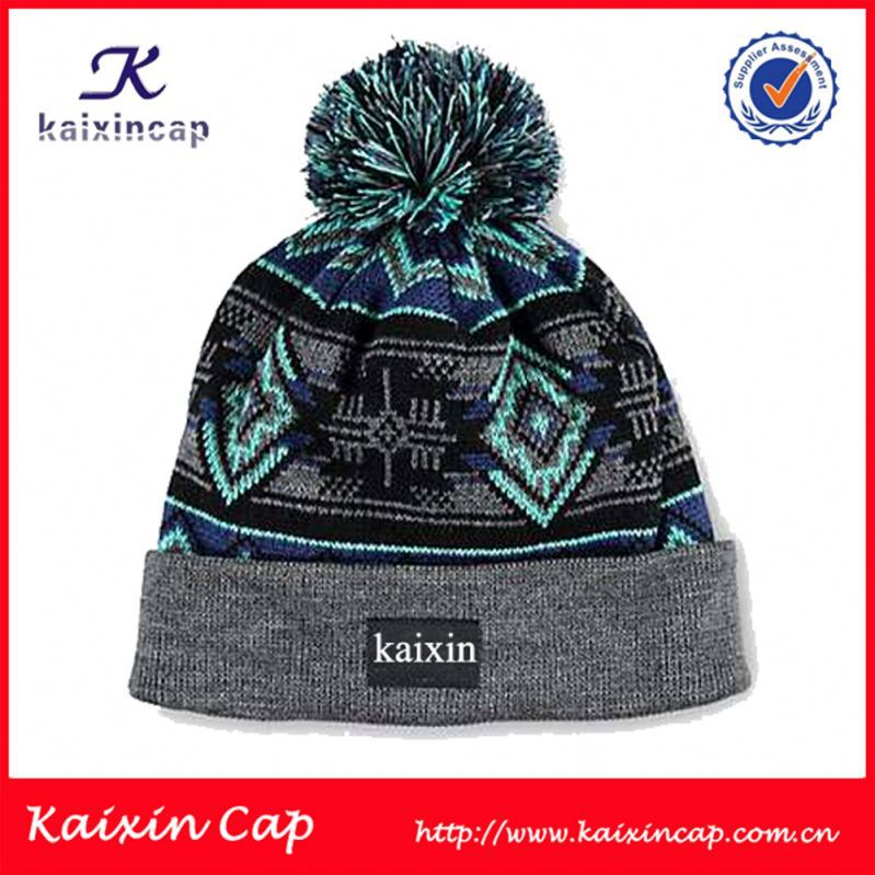 Brand new New design knitted jacquard beanie hat with earflaps pattern