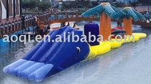 Water park equipment giant inflatable water game adult inflatable bouncer bed with mini slide