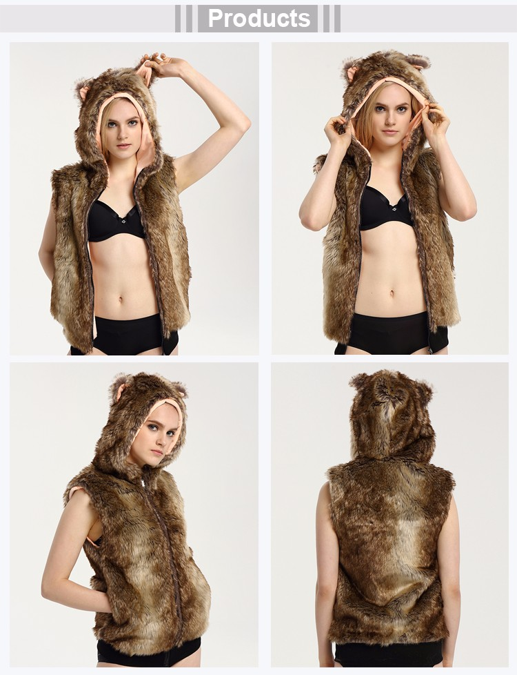 2017 High Quality Faux Fur Sexy Women Sleeveless Hoodies