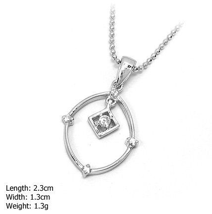 DZ-410 Oval Plain Sterling 925 Sterling Silver Pendent with CZ Stone