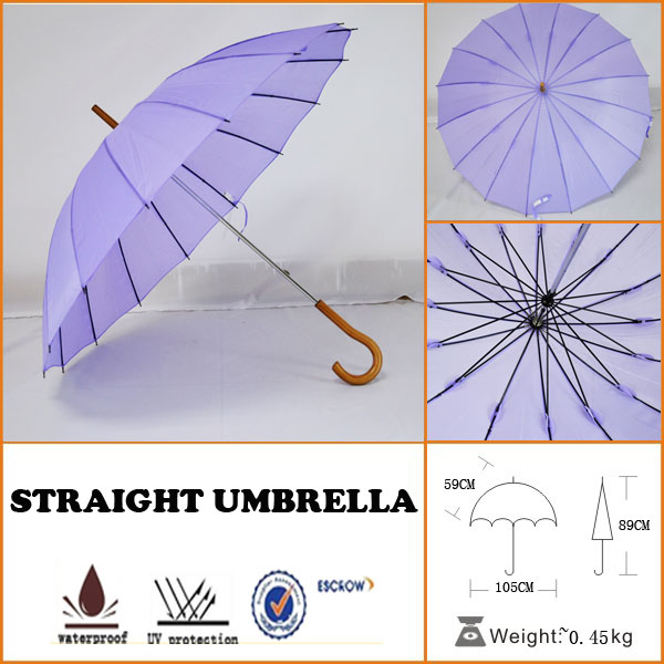 dreamlike lady's beautiful purple rain 16ribs straight umbrella