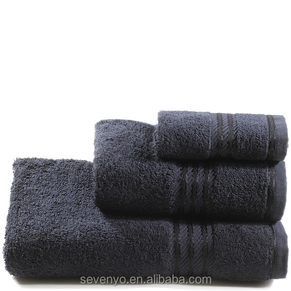 High quality 100% Egyptian Cotton 3 Piece Towel,Black HTS-158 China Factory