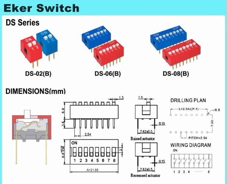 2.54mm Pitch Dip Switch 4 Position Red Blue Color