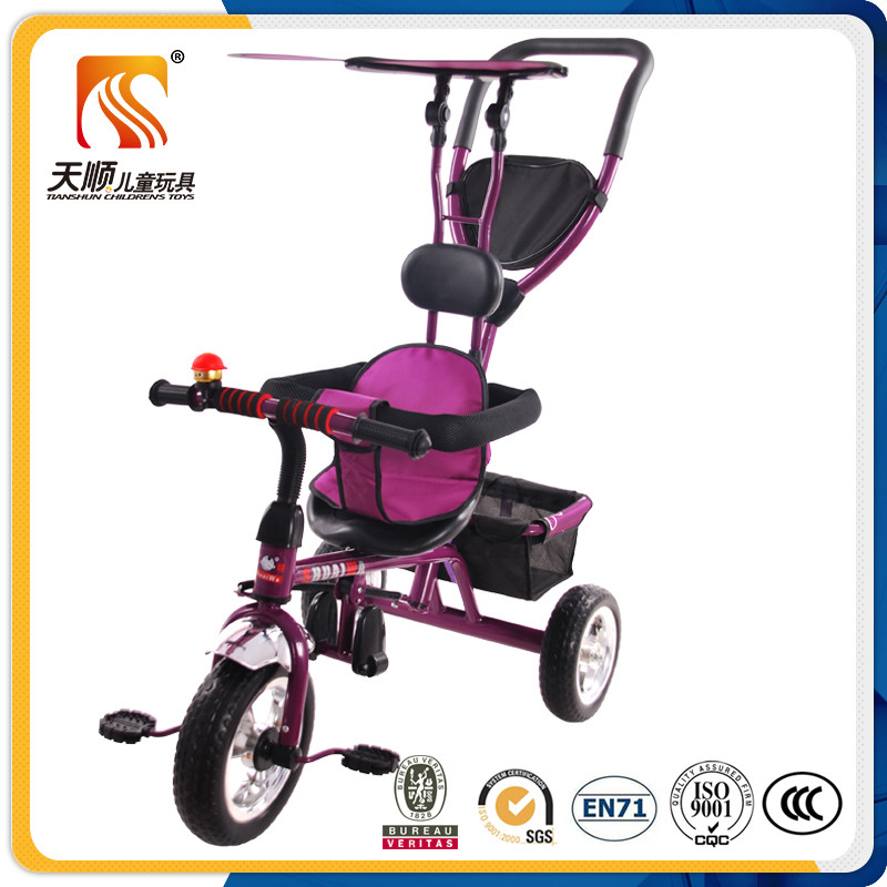 OEM designed children tricycle toy and kids 3 wheel bicycle with roof wholesale