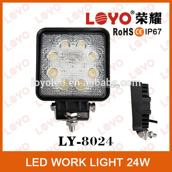 Auto off road 24w led flood work light, led 12V / 24V work light flood lamp truck car boat bar 4x4