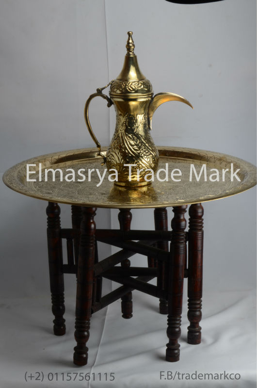 Handmade Brass Jug and Brass Tray Table Top and Wooden Folding Base, #TT-100