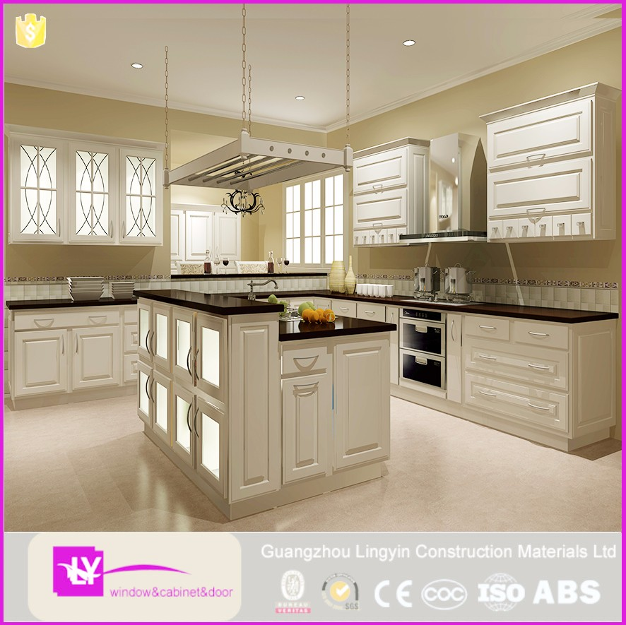 European Style Solid Wood Kitchen Cabinet Glass Door Wall Cabinet Antique Kitchen Furniture