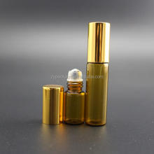 3 Ml Refillable Amber Glass Roller Bottles with Balls and Black Caps