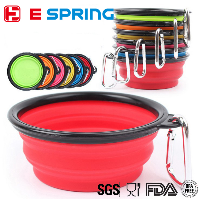 Colorful foldable silicone dog bowls collapsible pet bowl