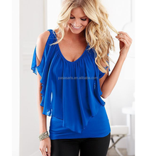 AL2051W Ruffles fashion summer lady blouse casual shirt images of chiffon tops