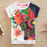 Wholesale 2016 latest summer western style roll neck big flower print children breathable tshirt
