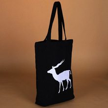 Promotion high quality recycled black printed cotton tote bag for shopping