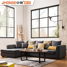 4 Seater Upholstery Furniture Modern Wooden Frame L Shaped Fabric Sofas For Living Room