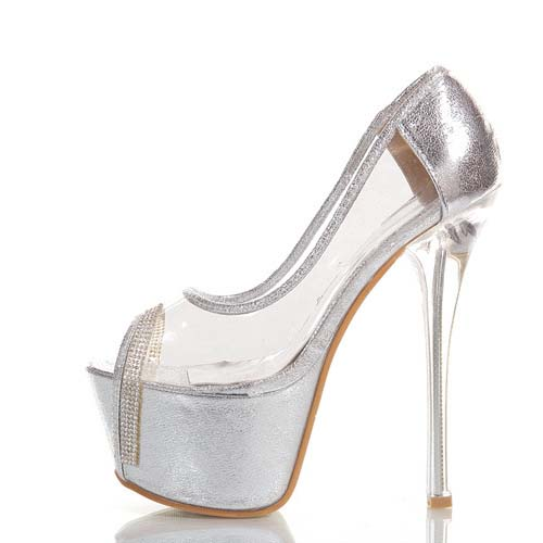 SD1140 transparent high heels shoes 16cm nightclub peep toe shoes ultra-high stiletto court women shoes
