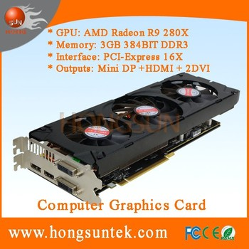 OEM AMD Radeon R9 280X 3GB 384bit GDDR5 PCI Express 3.0 HDCP Ready CrossFireX Support Video Graphics Card
