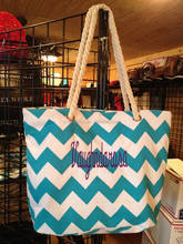 Fashion Monogram Chevron Beach Bag Tote