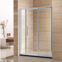 aluminum framed 3 panel sliding glass door shower screen D806