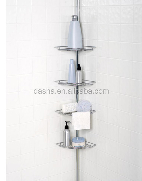 4 Shelf Tension Pole Corner Shower Caddy Bathroom Shelves
