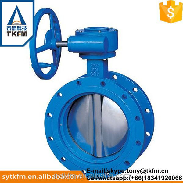 TKFM gas,waste water, oil, etc, food,Water,viscous liquids Media and Casting Material double flange butterfly valve
