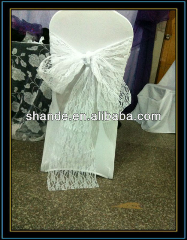Fashional and luxury white lace chair cover sash
