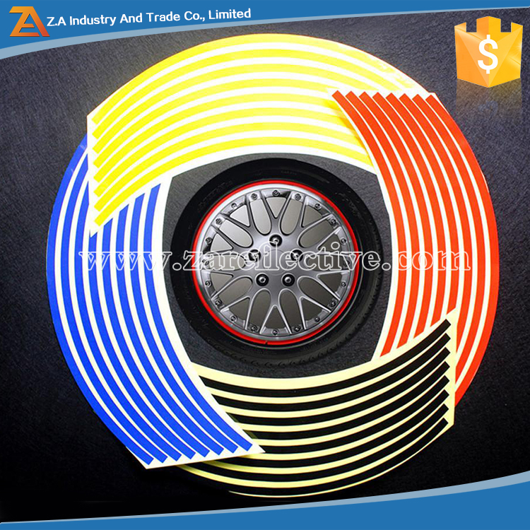 2016 Popular New 16 Strips Reflective Stickers Motorcycle Bicycle Reflector car wheel reflective sticker Rim Decal Tape
