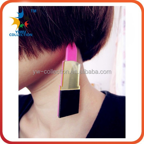 European popular hip hop large big lipstick acrylic dangle earring red/pink sexy hit color mirror nightclub bar earrings