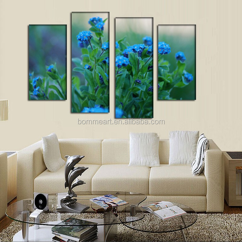 2016 new design beatiful 3d flower oil painting on canvas 4 panels China Wholesale home decor for home decor gift