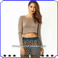 high fahison design autumn spring women sweater clothes cropped scoop neck sweater clothes shks12