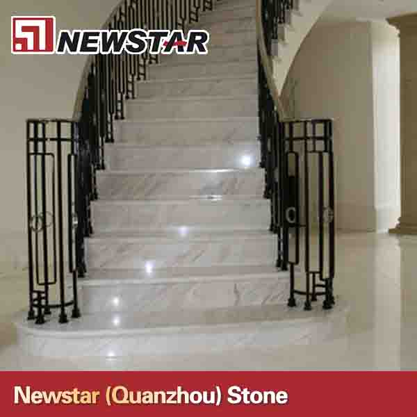 Precut white marble stair step