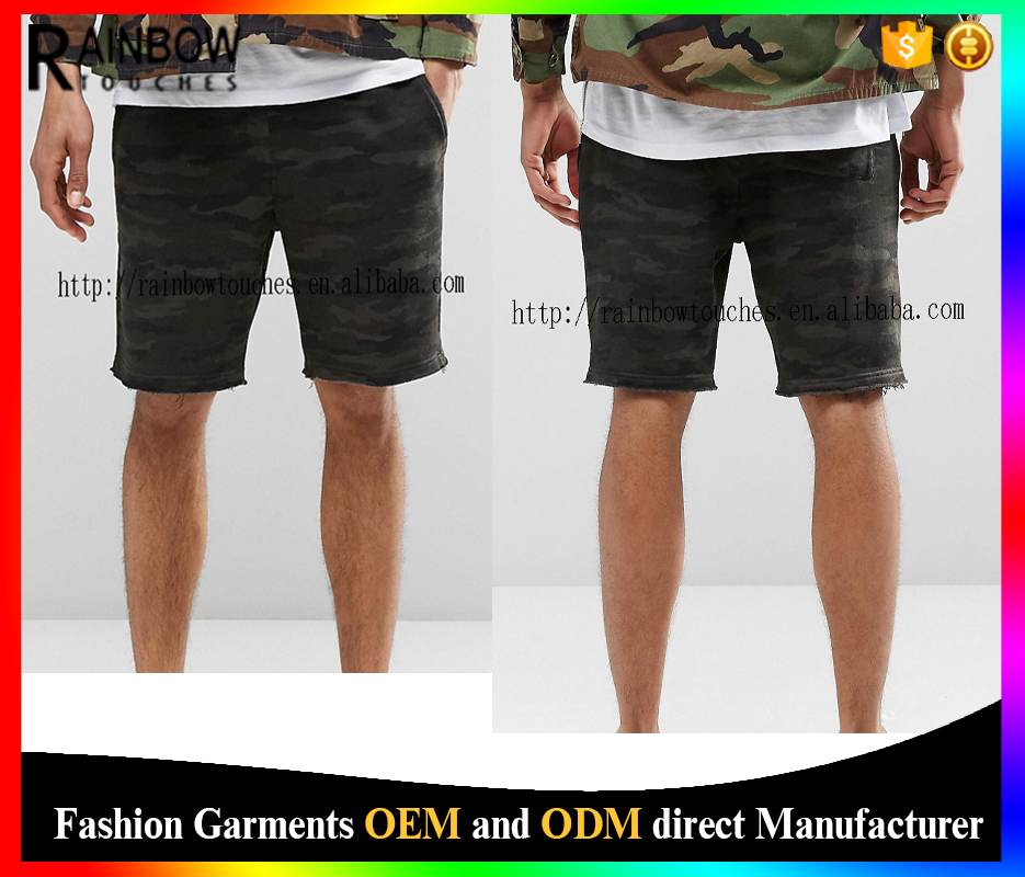 High quality alibaba china custom men slim jersey shorts in camo
