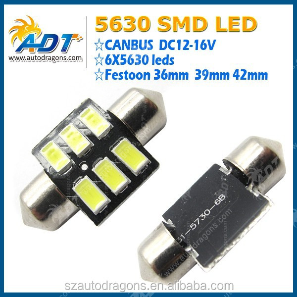 2015 New And Hot Products 42mm canbus no error N5630 auto led lamps 12V 6leds blue car led bulbs