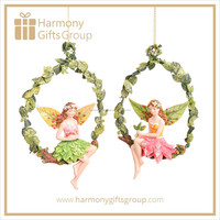 Fairy Sitting Tree Wreath Home Garden Ornament
