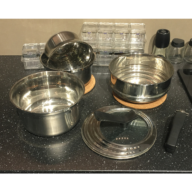 Removable Handle 3 ply Casserole Set With Steamer basket