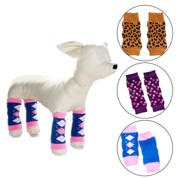 4Pcs/Set Zebra Leopard Dots Print Non-slip Leg Warmers Dog Leg Pad Winter Pet Dog Leg Socks