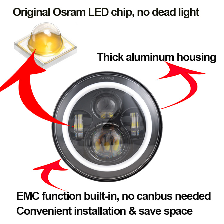 "Wholesale Osram 7 inch harley led lights halo ring 7"" motorcycle led headlight for jeep wrangler"