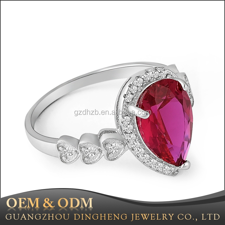 Fashion Simulated Diamond Ruby Purple Red Pear Shape 925 Sterling Silver Fancy Women Ring